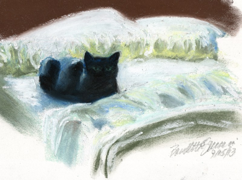 pastel sketch of black cat on bed