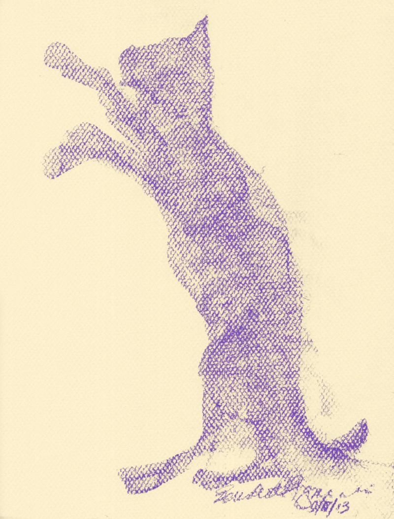 pastel sketch of cat shape