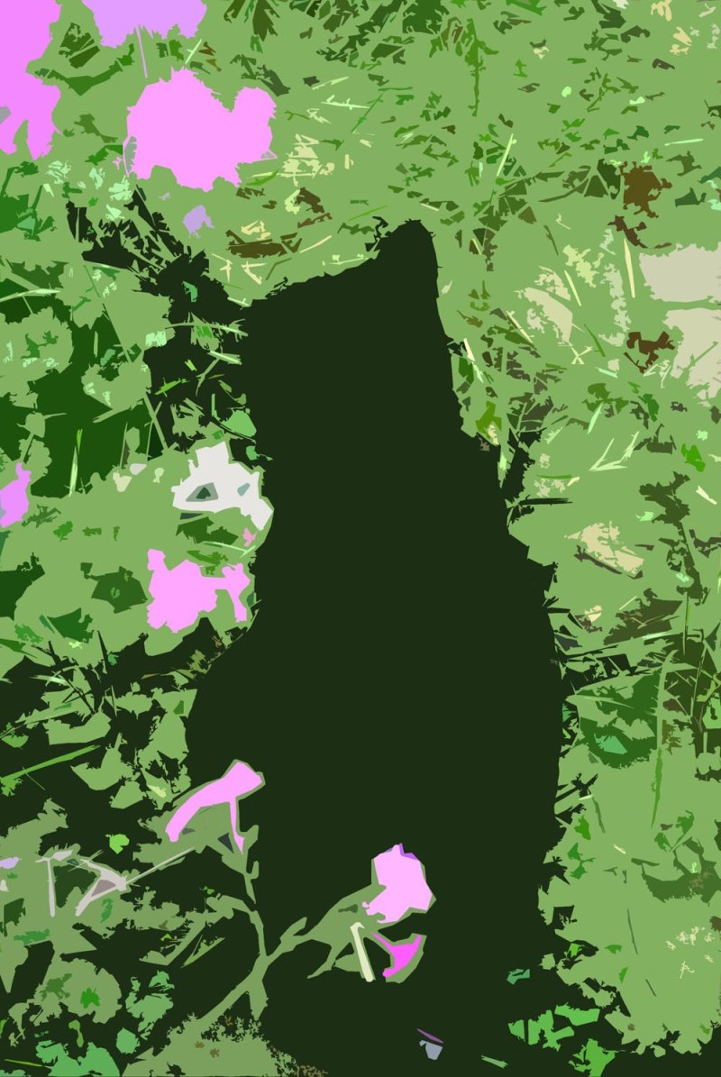 electronic sketch of cat in garden