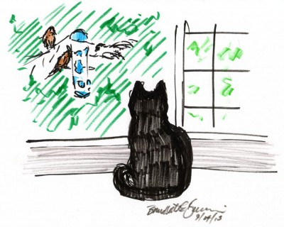 marker sketch of black cat watching birds at feeder