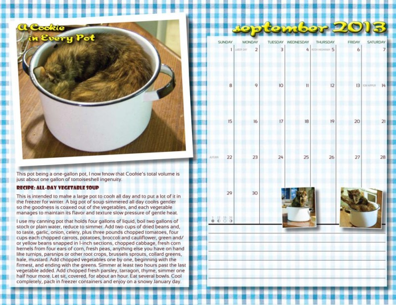 "The two-page spread for September ""In the Kitchen With Cookie""."