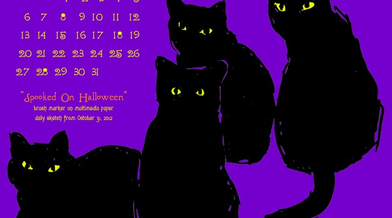 """Spooked on Halloween"" desktop calendar for square monitors."