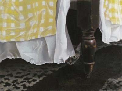 pastel portrait of cat under bed