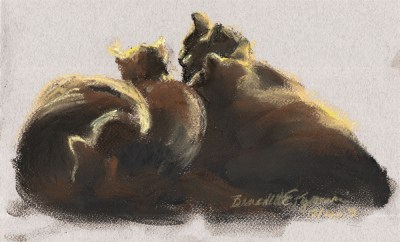 pastel drawing of four black cats