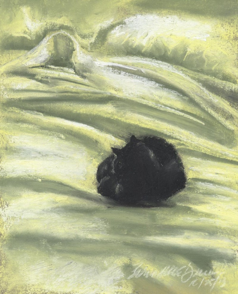 """Autumn Afternoon Bed"", pasetl on sanded paper, 5.5"" x 7.5"" © Bernadette E. Kazmarski"
