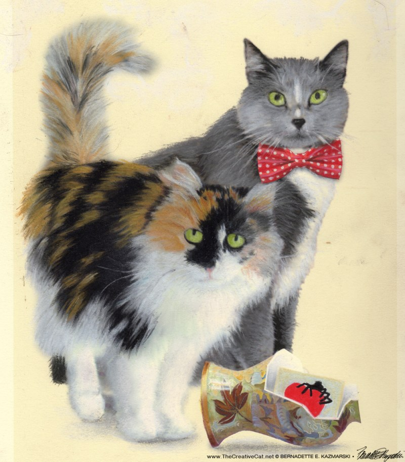 "The painting for ""Merriment, Mayhem and Meows""."