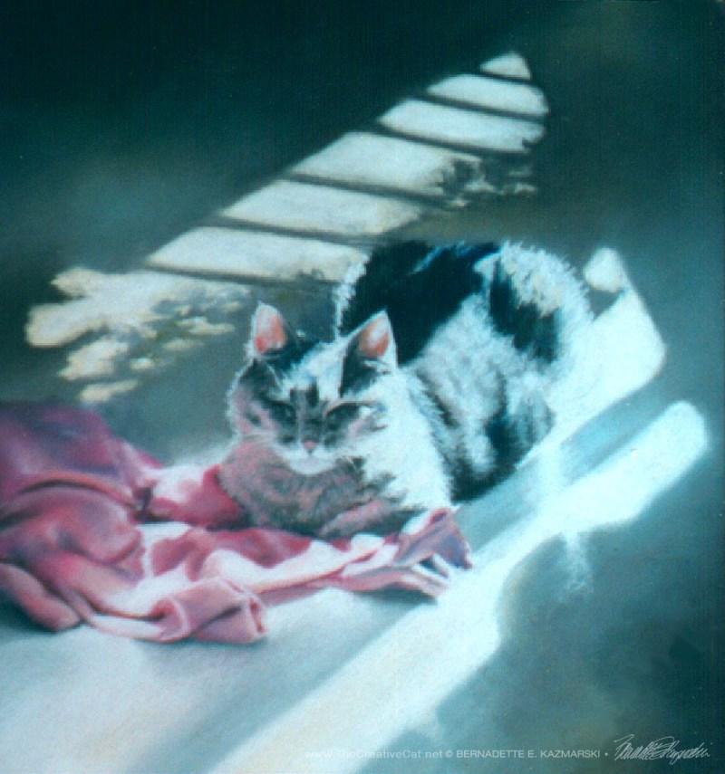 """A Rosy Glow"", pastel on velour paper, 10"" x 10"", 1996 © BernadetteE. Kazmarski"