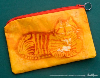 Smiling Ginger Kitty Batik accessory bag