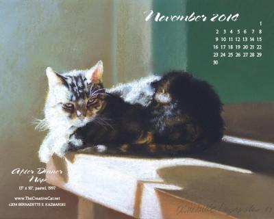 """After Dinner Nap"" desktop calendar, 1280 x 1024 for square and laptop monitors."