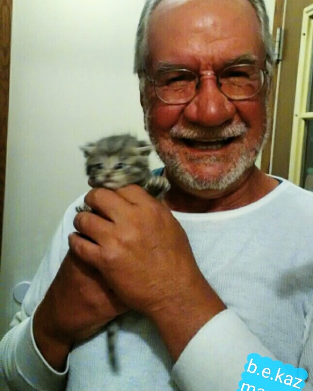 Andy with the kitten.