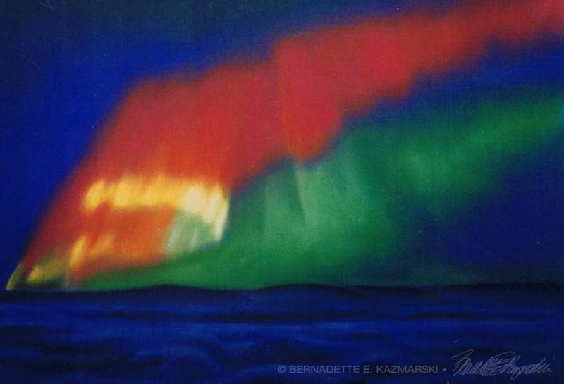 pastel painting of the aurora borealis
