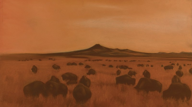 detail of painting of bison grazing in sunset prairie