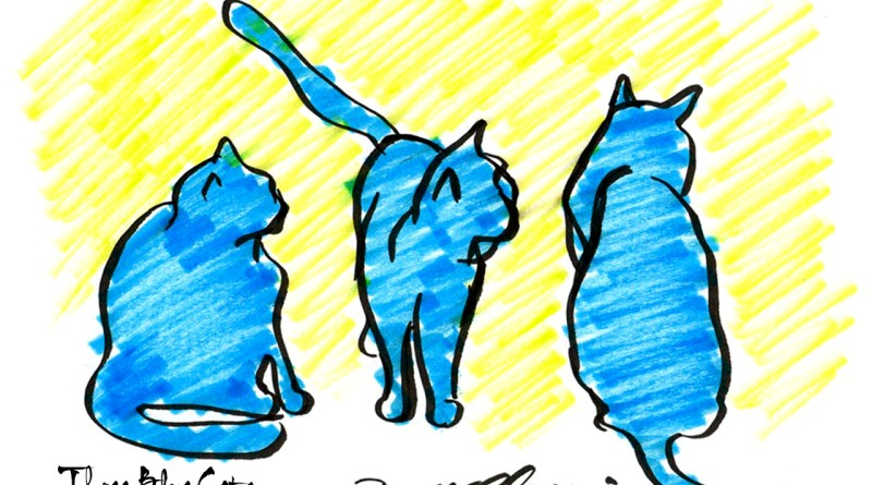 """Three Blue Cats"" desktop calendar, 1280 x 1024 for square and laptop monitors."
