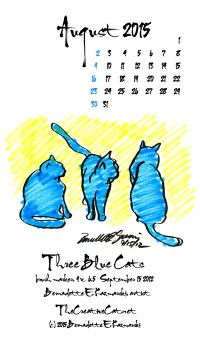 """Three Blue Cats"" desktop calendar, for 400 x 712 for mobile phones and Smartphones."