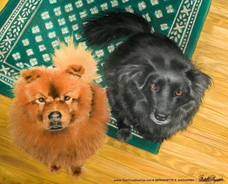 """Bodie and Bear Bear"", pastel, 18"" X 12"", 2010 and 2011 © Bernadette E. Kazmarski"