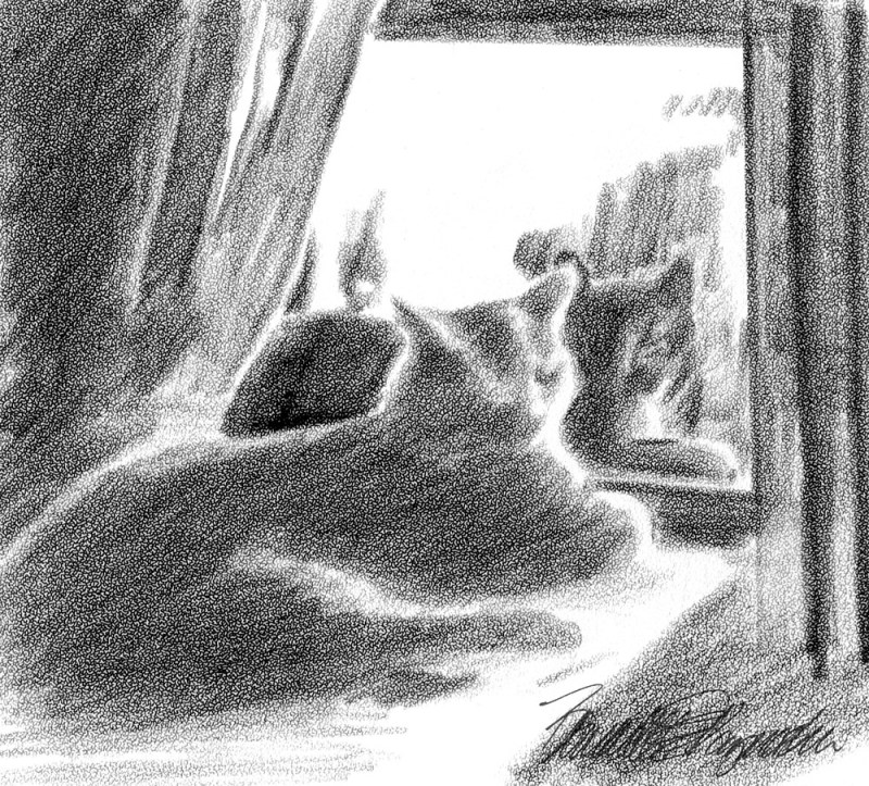 sketch of two cats at window
