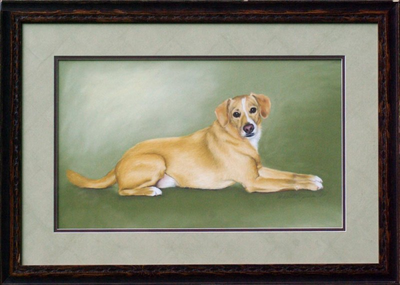 pastel portrait of dog
