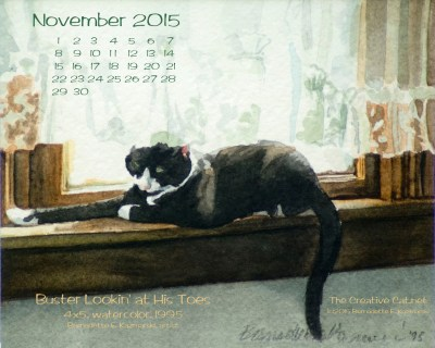 """""""Buster Lookin' at His Toes"""" desktop calendar, 1280 x 1024 for square and laptop monitors."""