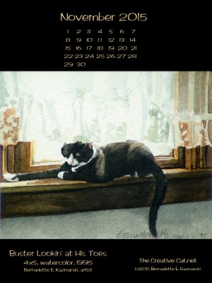 """""""Buster Lookin' at His Toes"""" desktop calendar, 600 x 800 for iPad, Kindle and other readers."""