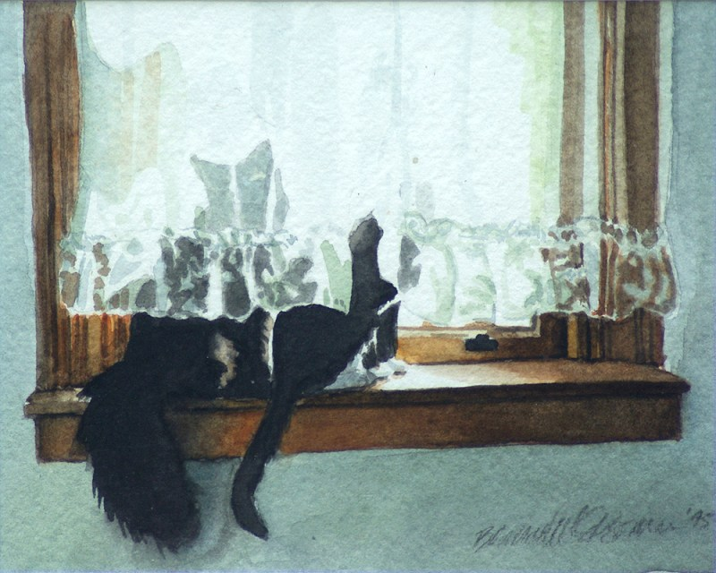 painting of two cats on windowsill