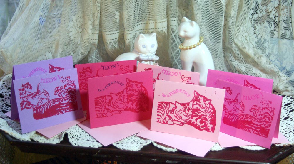 linocut cat vaentines in pink and purple