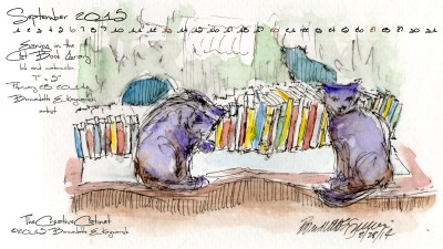 """""""Evening in the Cat Book Library"""" desktop calendar 2560 x 1440 for HD and wide screens."""