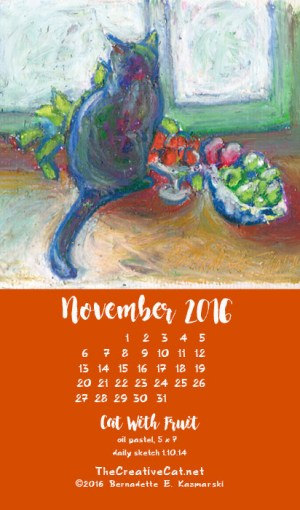 """Cat With Fruit"" desktop calendar, for 400 x 712 for mobile phones."