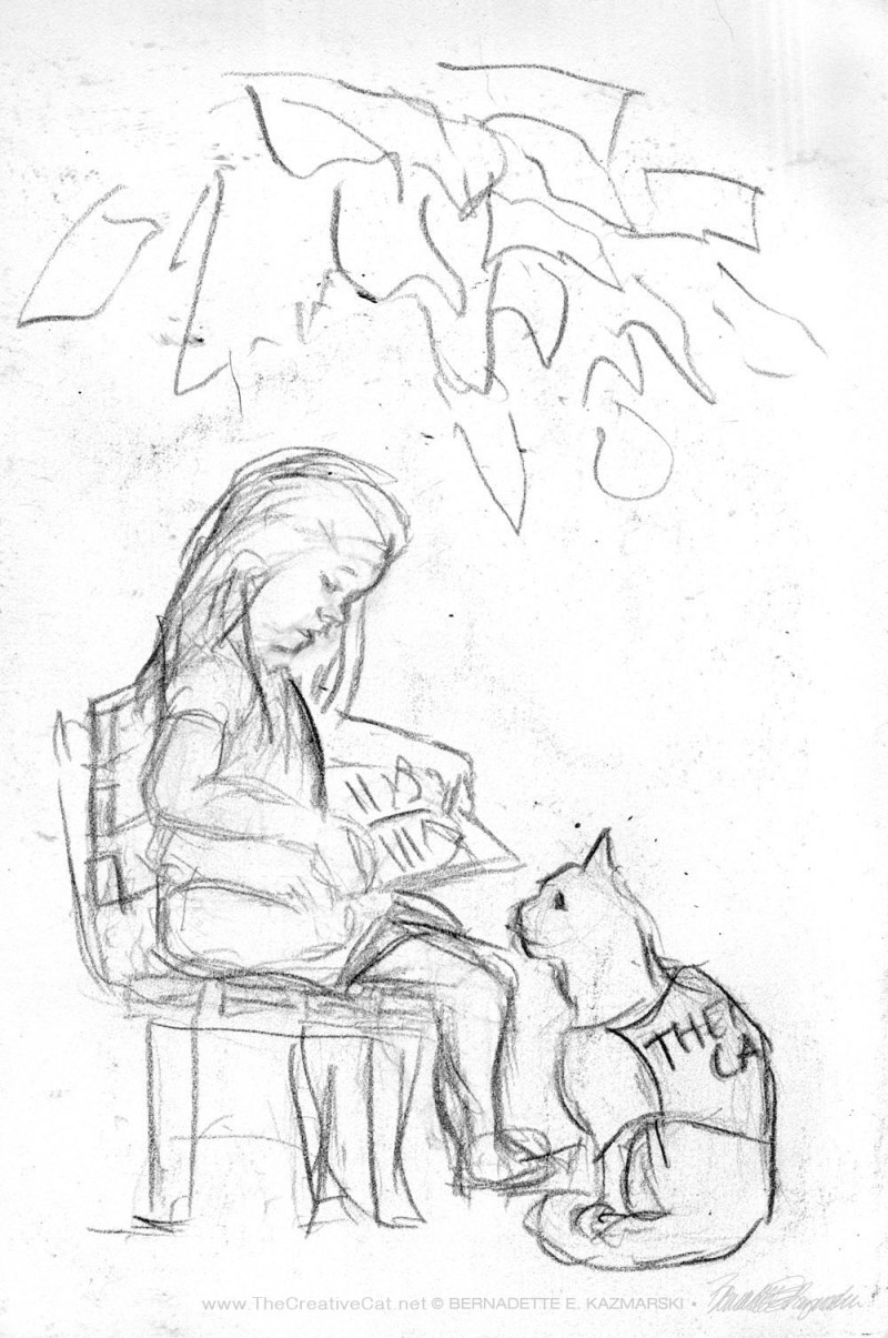 sketch of girl with cat