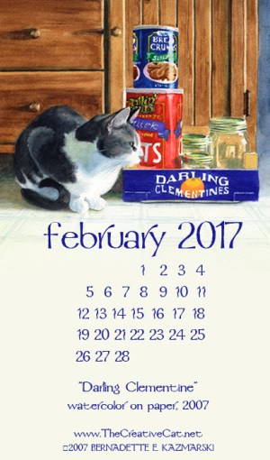 """Darling Clementine"" desktop calendar, for 400 x 712 for mobile phones."