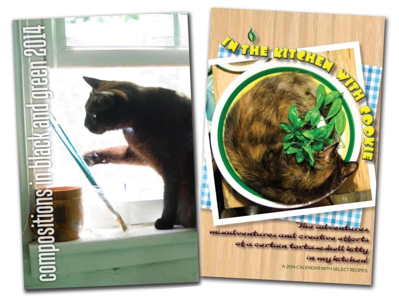 """Desk and journal calendars for 2014, """"In the Kitchen with Cookie"""" and """"Compositions in Black and Green"""""""