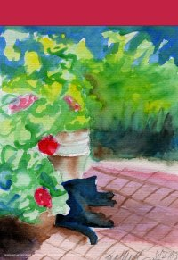 """""""Garden Sketch With Mimi"""" Garden Flag"""