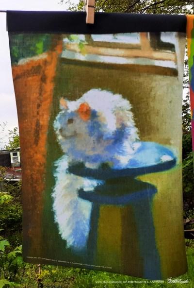 white cat garden flag