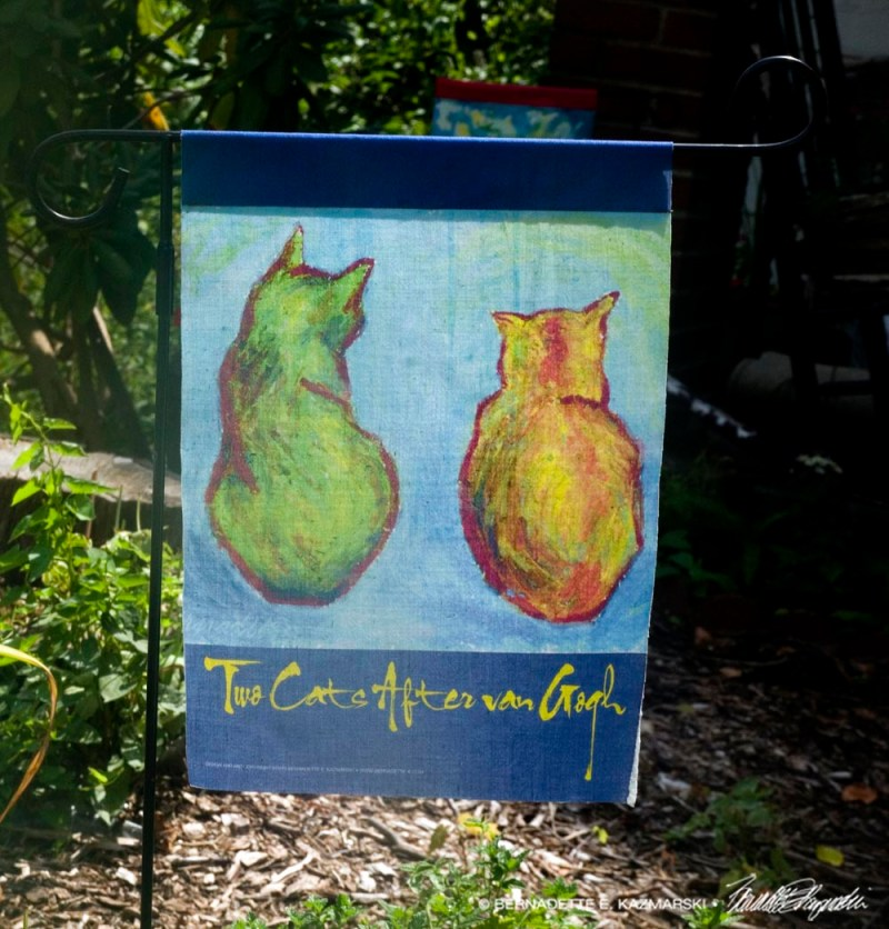Two Cats After van Gogh Garden Flag