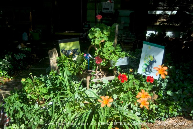 garden with cat garden flags