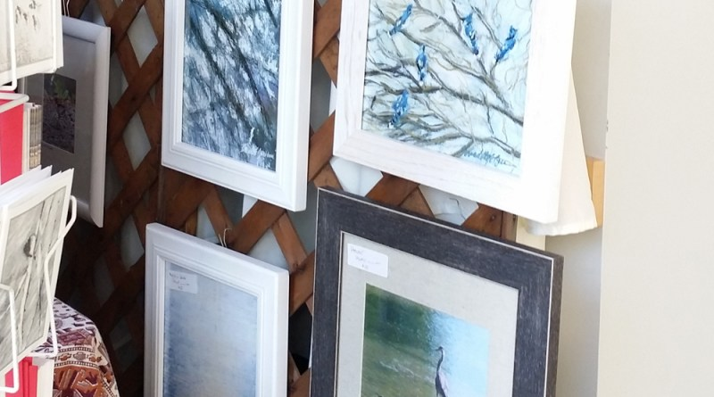 Framed prints of sketches.