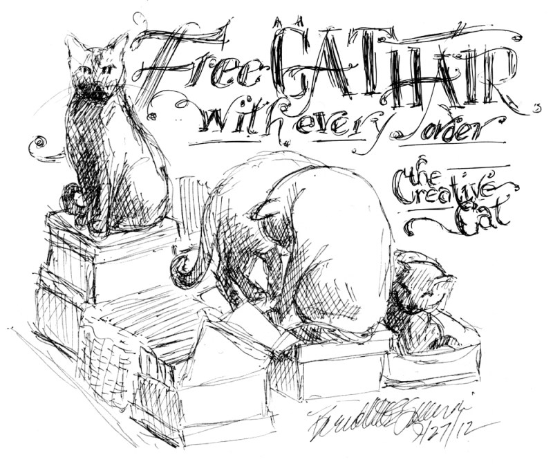 ink sketch of cats on boxes