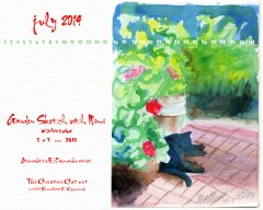 """Garden with Mimi"" desktop calendar, 1280 x 1024 for square and laptop monitors"