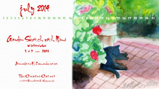 """Garden Sketch with Mimi"", 2560 x 1440 for wide and HD monitors desktop calendar"