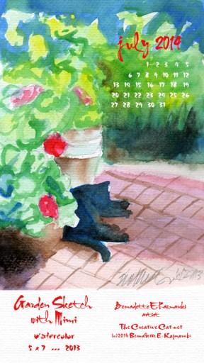 """""""Garden Sketch wtih Mimi"""" desktop calendar for 480 x 854 for mobile devices"""