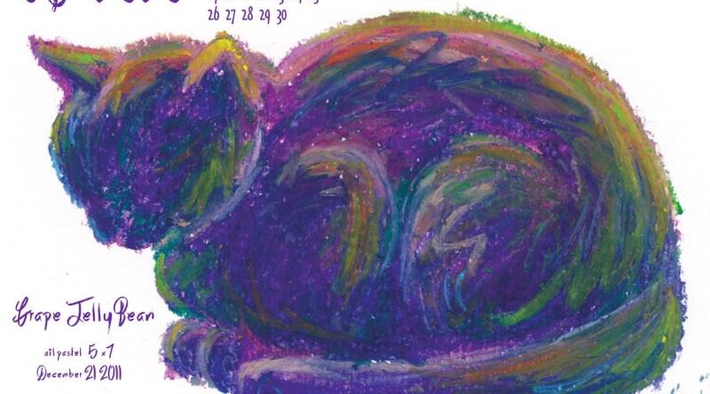 April Featured Artwork and Desktop Calendar: Grape Jelly Bean
