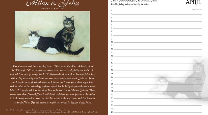 page in day book with cats