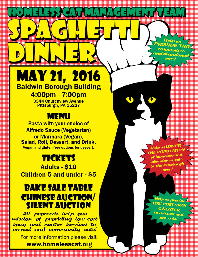Upcoming Events: HCMT Spaghetti Dinner, May 21, 2016, 4 to 7PM