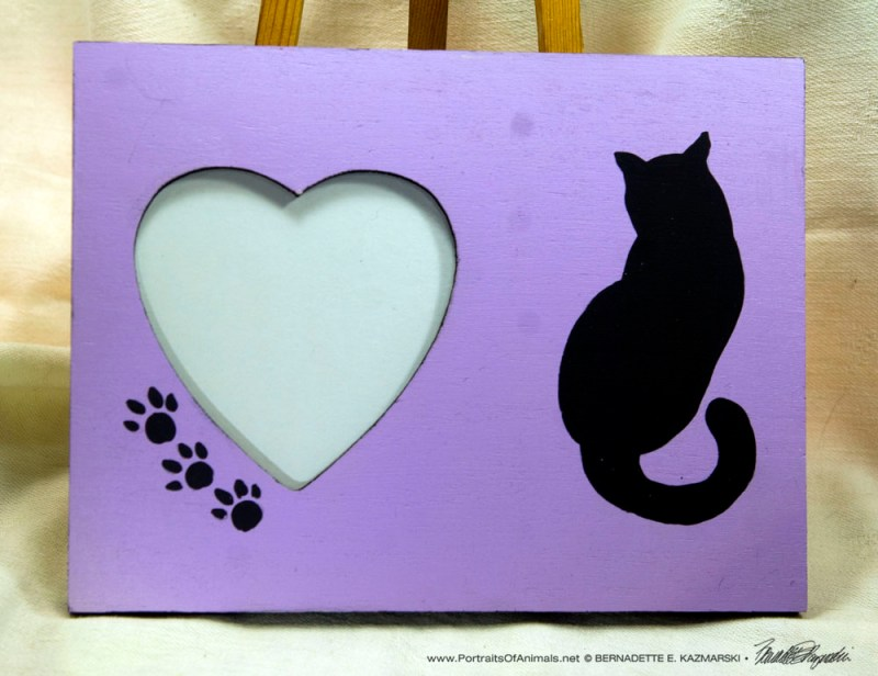 Hearts and Cats Wooden Frame