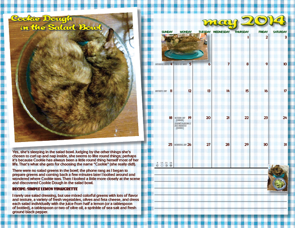 "The two-page spread for May ""In the Kitchen With Cookie"""