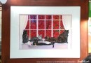 FeeBee, Amber, Buckley, Allegra and Ruby, and the Red Maple, pastel, 12 x 18 © Bernadette E. Kazmarski, framed.
