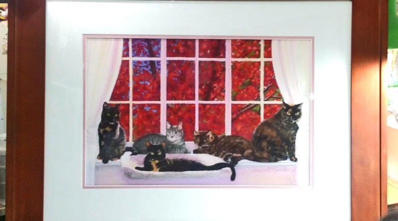 FeeBee, Amber, Buckley, Allegra and Ruby, and the Red Maple, pastel, 12 x 18 © Bernadette E. Kazmarski, framed.