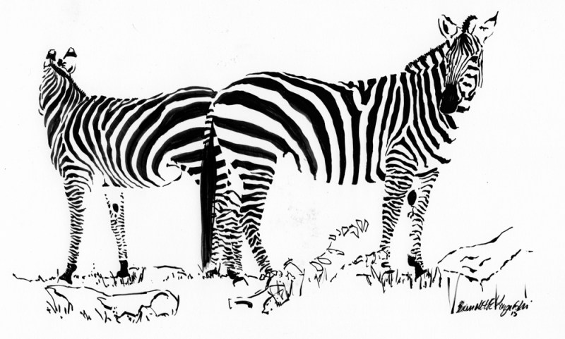 """Just Stripes"", brush pen, 14"" x 9"""