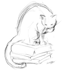 charcoal pencil sketch of cat on pile of books
