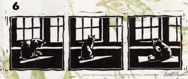 """Kelly's Morning Bath II"", linoleum block print on handmade rice paper, 4"" x 11"", 2015 © Bernadette E. Kazmarski"