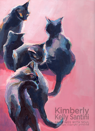 painting of five black cats